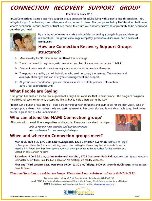 2016 NAMI CCNS Connection Recovery Support Group - free, peer-led support group for adults living with a mental health condition