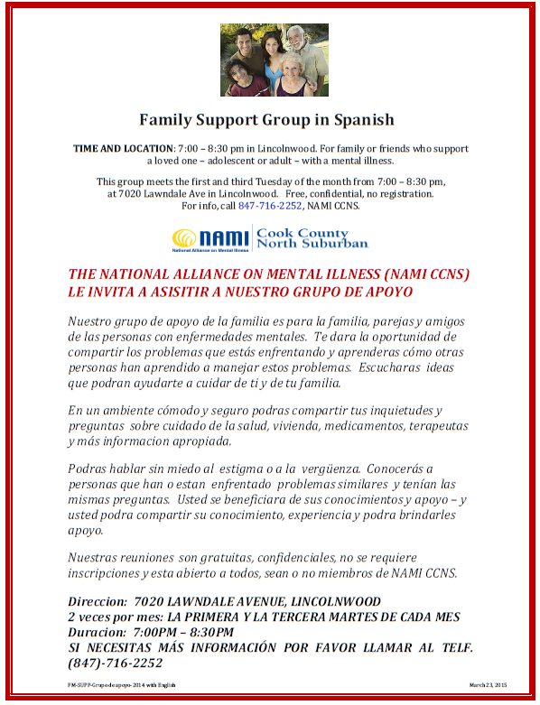 2016 NAMI CCNS Family Support Group in Spanish