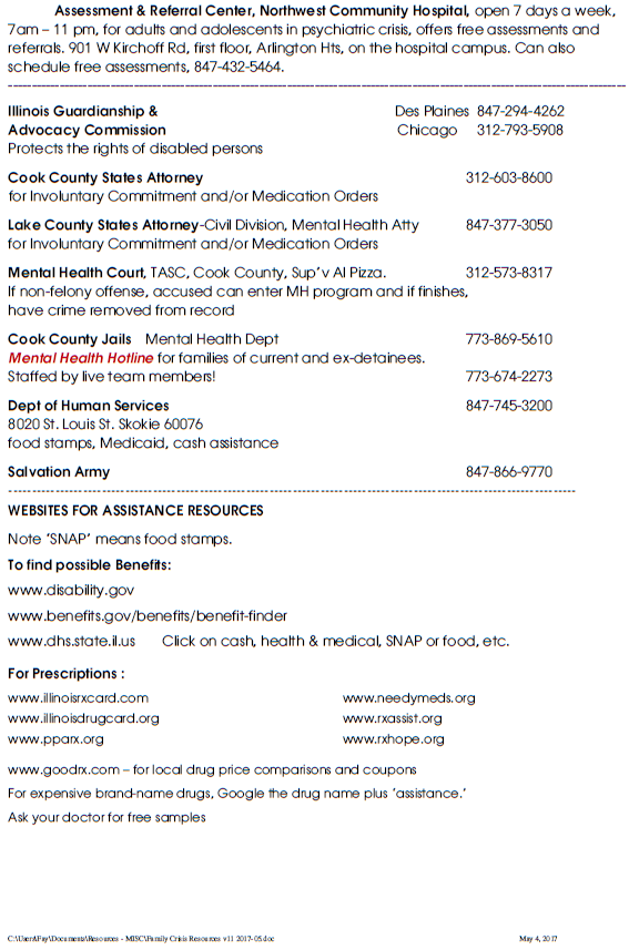 2017 NAMI CCNS crisis resource list